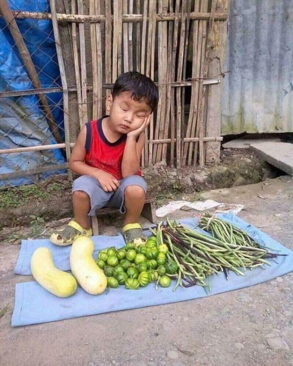 Фото этого бедного малыша, который засыпает за овощным прилавком, вызвало резонанс в сети