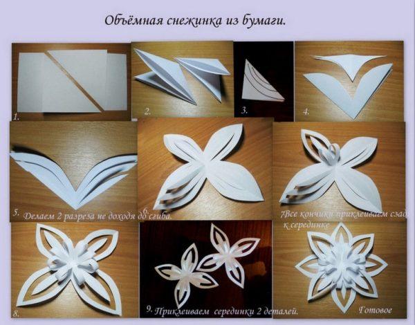 Схема снежинки бумаги объемные